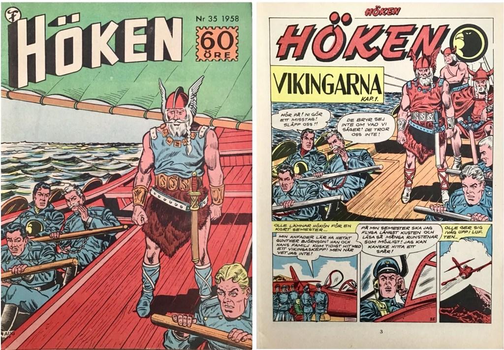 Omslag till Höken nr 35, 1958 och inledande sida ur Höken-serien. ©Formatic/EuropaPress
