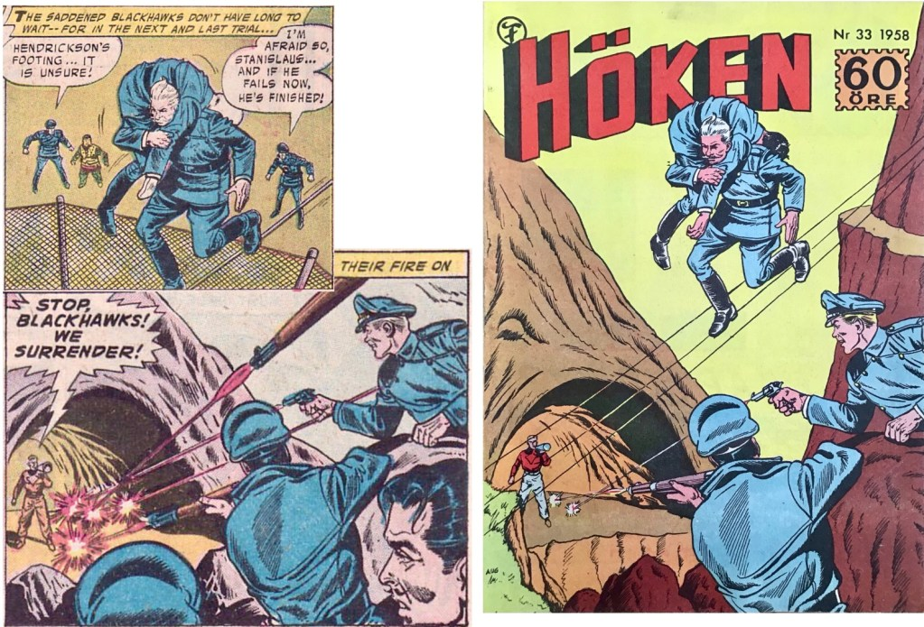Omslaget till Höken nr 33/58 baserar sig på ett par serierutor från tredje och åttonde sidan i episoden. ©Formatic/Quality/Comic Favorites
