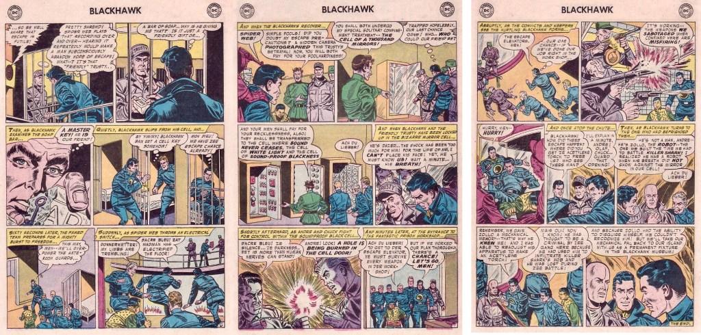 Avslutande sidor med episoden The Prisoners of the Black Palace ur Blackhawk #116 (1957). ©DC/National