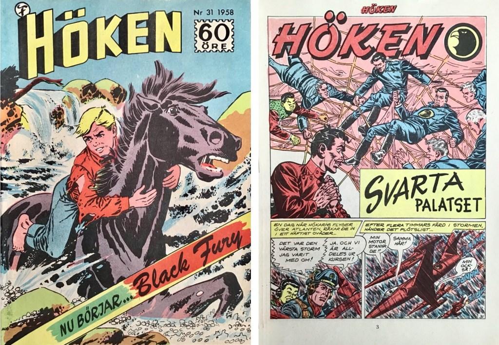 Omslag till Höken nr 31, 1958 och inledande sida ur Höken-serien. ©Formatic/EuropaPress