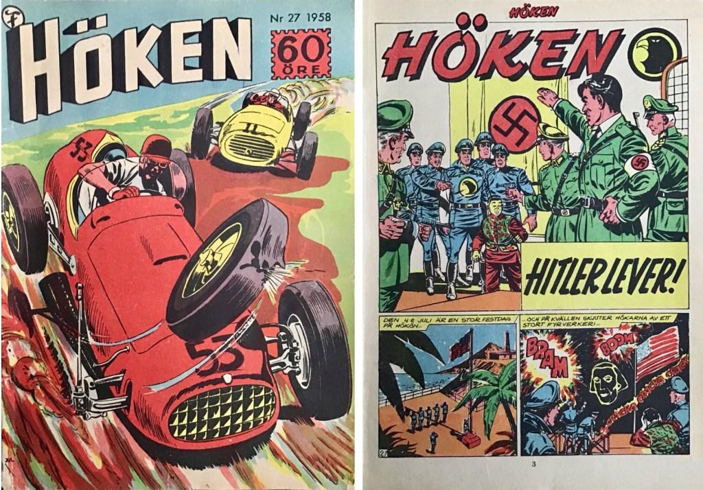 Omslag till Höken nr 27, 1958 och inledande sida ur Höken-serien. ©Formatic/EuropaPress