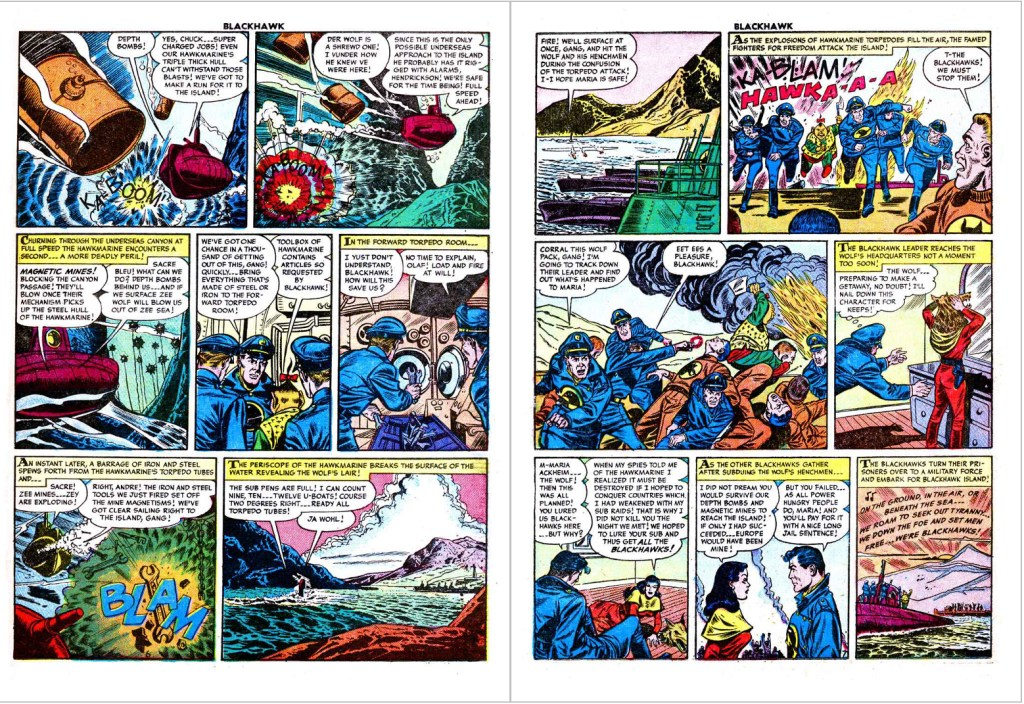 Avslutande uppslag ur Blackhawk #87 (1955). ©Quality/Comic Favorites