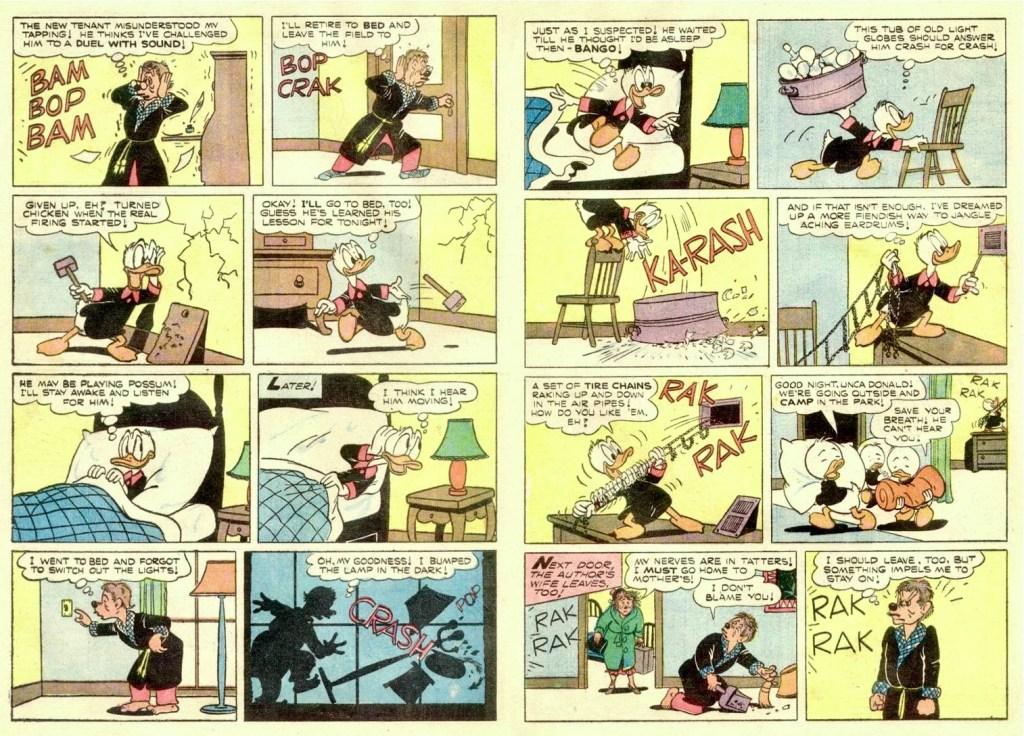 Motsvarande sida i original från uppslaget ur Walt Disney's Comics and Stories #178 (1955). ©Disney