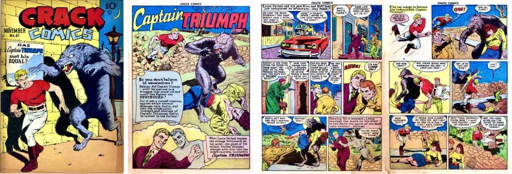 Omslag till Crack Comics #51 (1947). och inledande sidor med Captain Triumph av Reed Crandall (skiss) och Chuck Cuidera (tusch). ©Quality/Comic Magazines