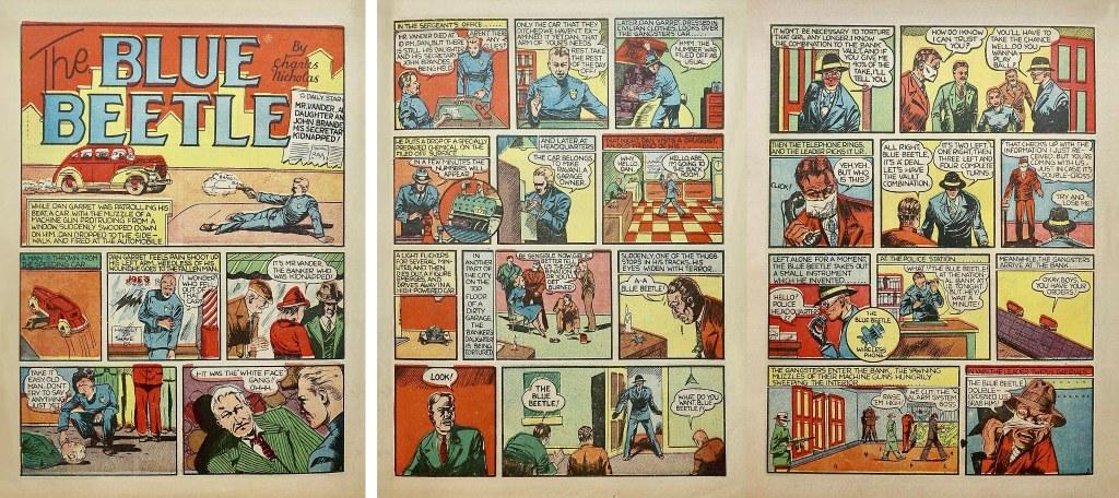 Blue Beetle debuterade som en del av innehållet i Mystery Men Comics #1 (1939). ©Fox