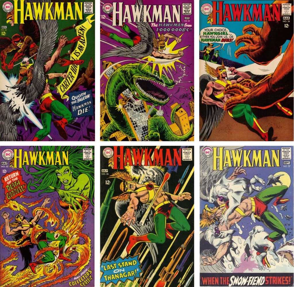 Omslag till Hawkman #22-27 (1967-68), de flesta av Dick Dillin och Chuck Cuidera (#26 av Joe Kubert och #24 tusch av Jack Abel) ©DC/National