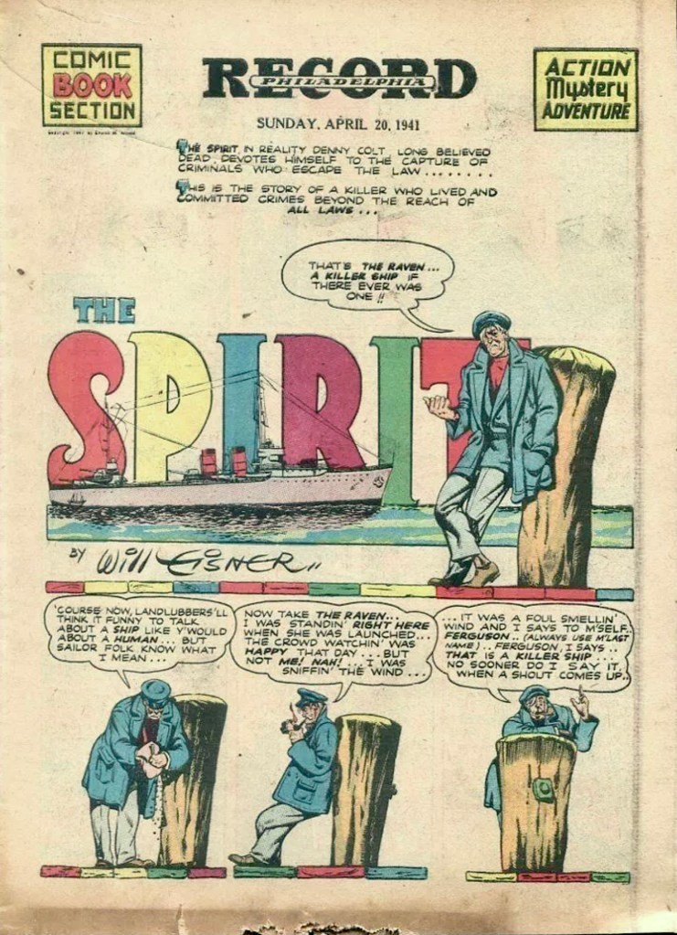 Förstasida till The Spirit Comic Book Section från 20 april 1941. ©Register&Tribune