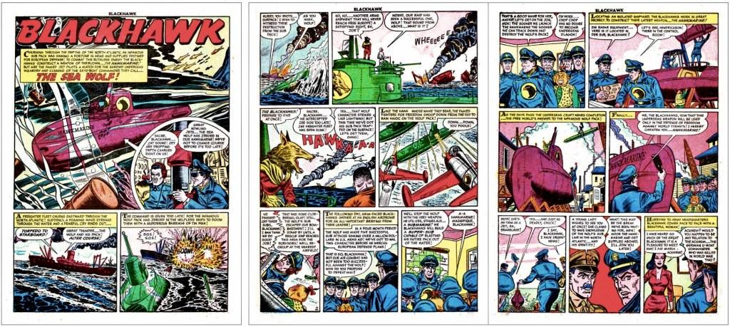 Inledande sidor av serien i original, ur Blackhawk #87 (1955). ©Quality/Comic Favorites