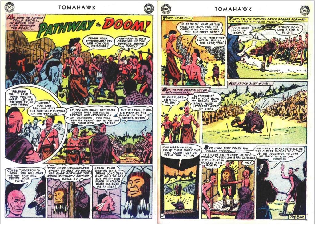 En serie av Jim McArdle ur Tomahawk #27 (september 1954), som senare blev publicerad på svenska i Tomahawk nr 4, 1978. ©DC/National