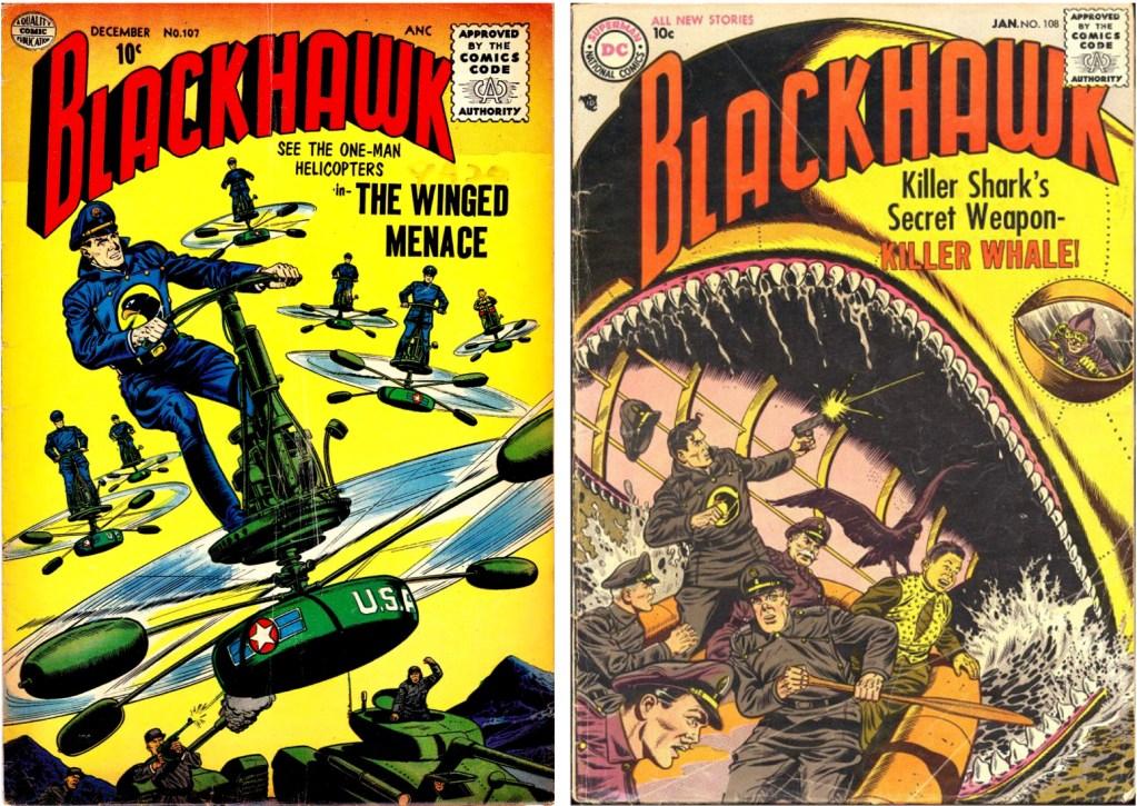 Omslag till Blackhawk #107 och #108 av Dick Dillin (skiss) och Chuck Cuidera (tusch). ©Quality/DC