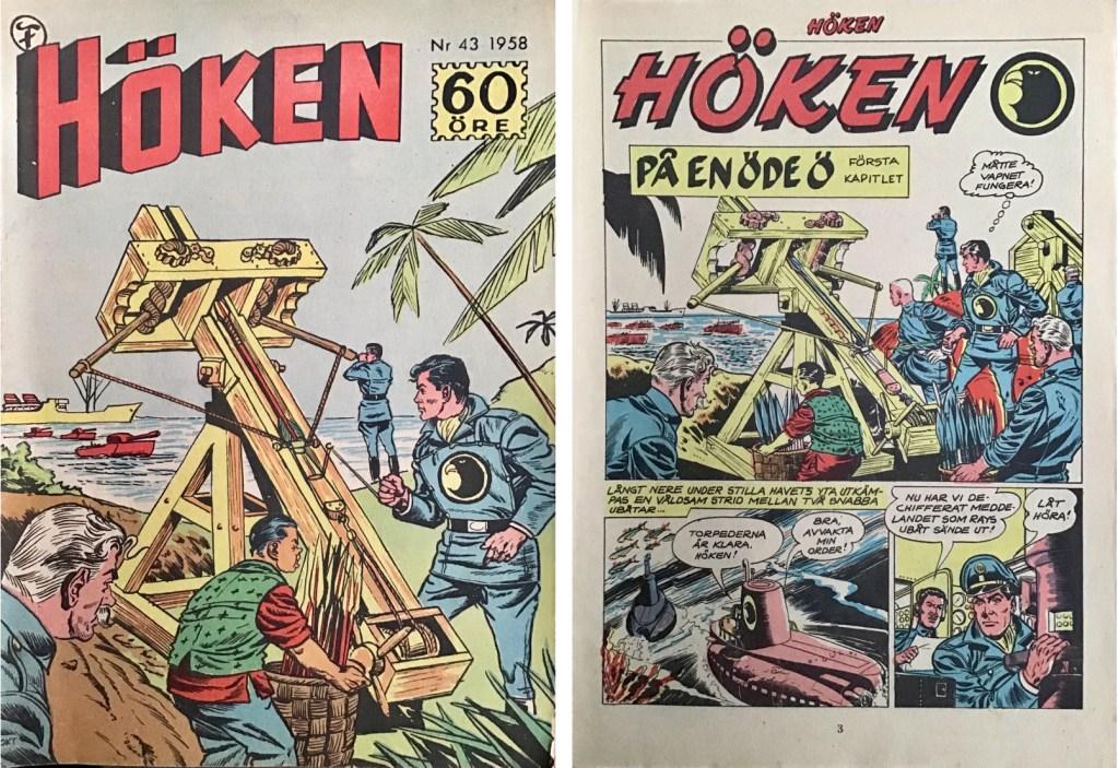 Omslag till Höken nr 43, 1958 och inledande sida ur Höken-serien. ©Formatic/EuropaPress