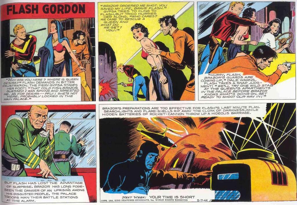 Söndagsstrippen med Flash Gordon från 7 maj 1944. ©KFS