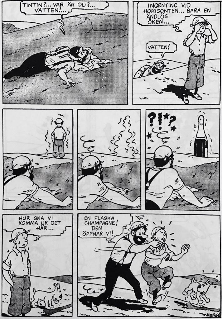 En söndagssida med Tintin från 1941, ur nya Comics (1993). ©PIB/Hergé/Casterman