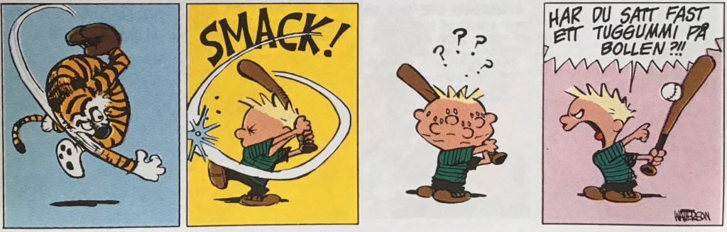 En dagsstripp med Kalle och Hobbe ur nya Comics (1993). ©EuropaPress/Universal
