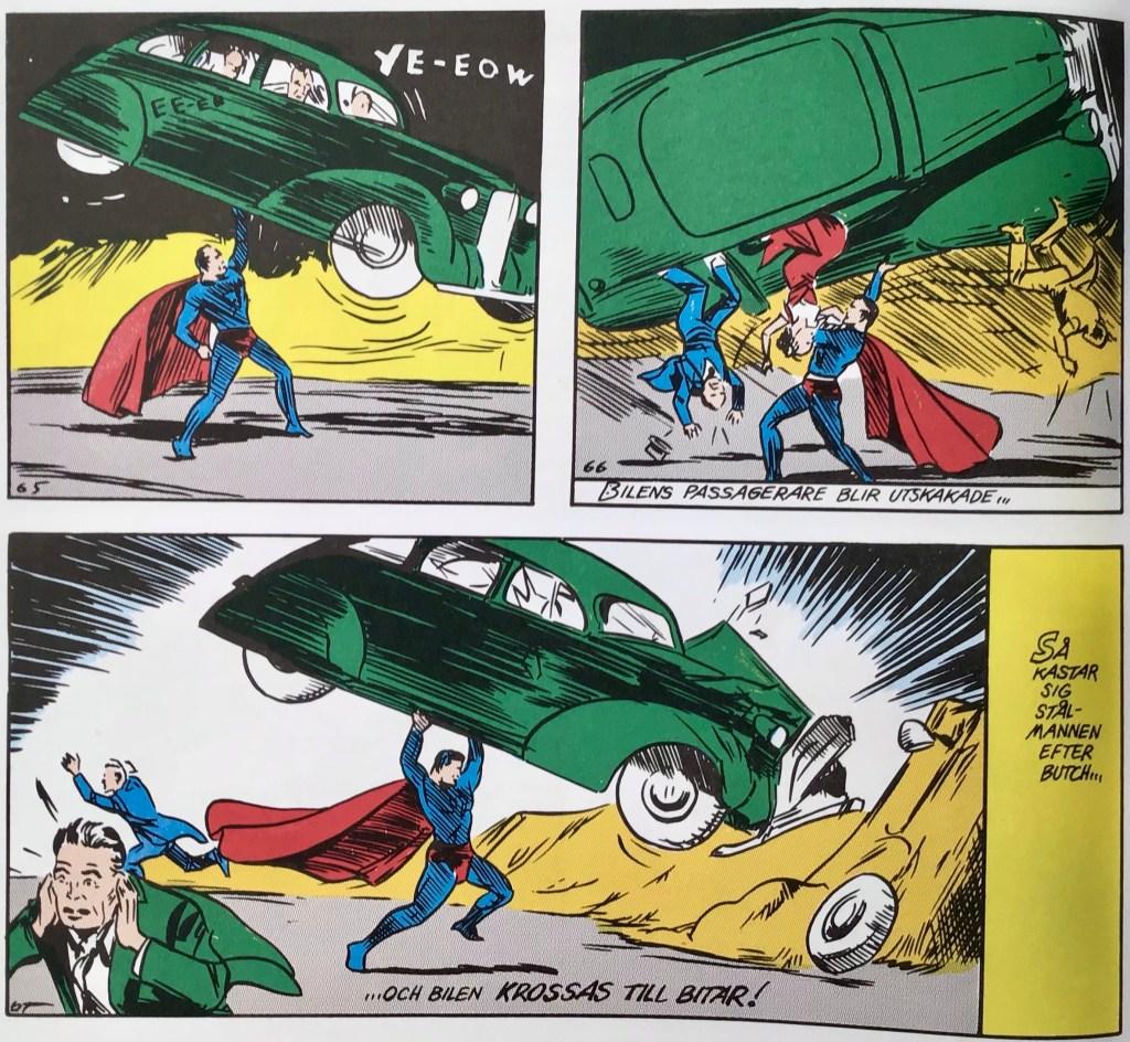 En del ur den första serien med Stålmannen, där han får visa prov på sin styrka. ©DC/National