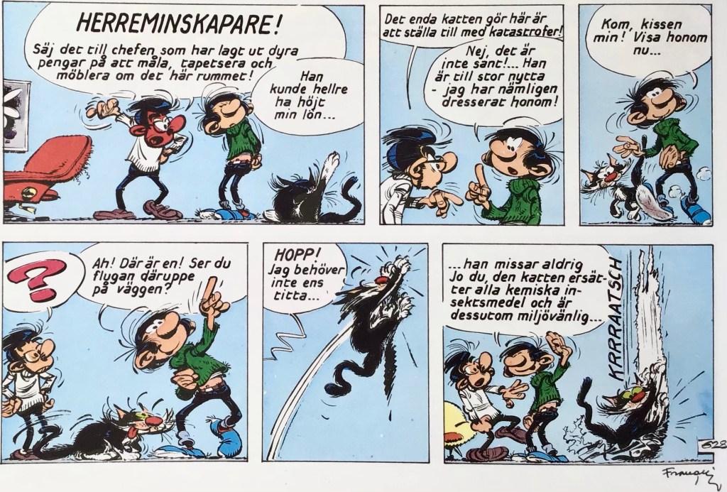 En del av en sida med Gaston ur Comics - serierna 100 år. ©PIB/Dupuis