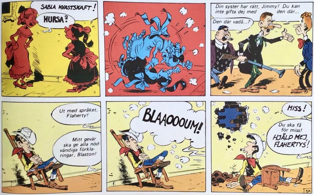 En del av en sida med Lucky Luke ur Comics - serierna 100 år. ©Dargaud