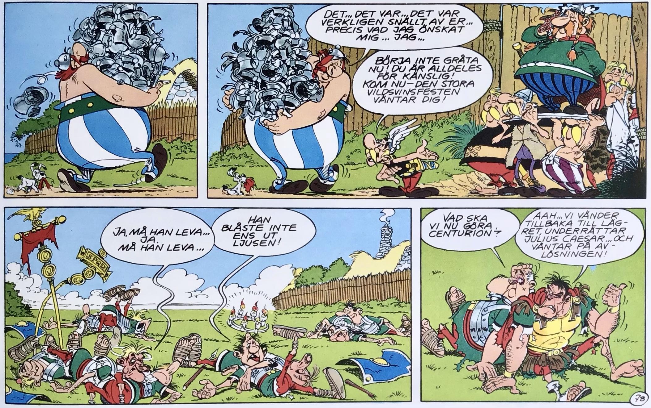 En del av en sida med Asterix ur Comics - serierna 100 år. ©Serieförlaget/Dargaud
