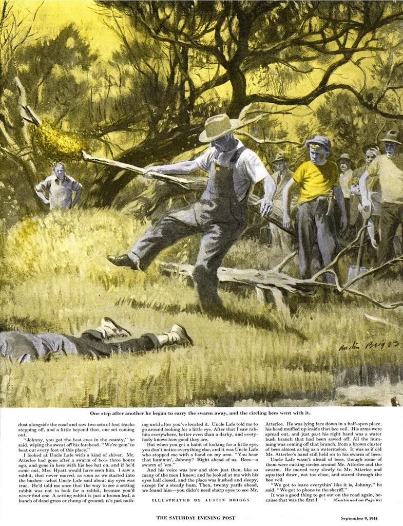 En illustration av Austin Briggs från 9 september 1944. ©Saturday Evening Post