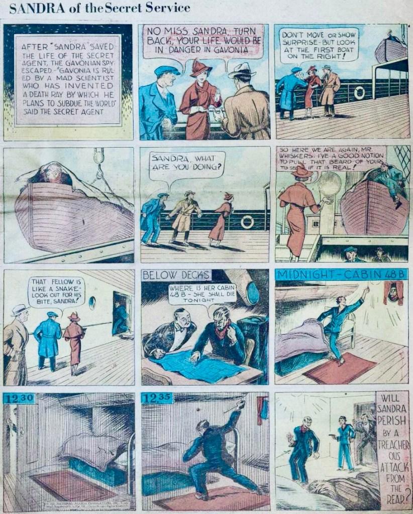 En sida med Sandra of the Secret Service ur New Fun #3 (1935). ©National Allied