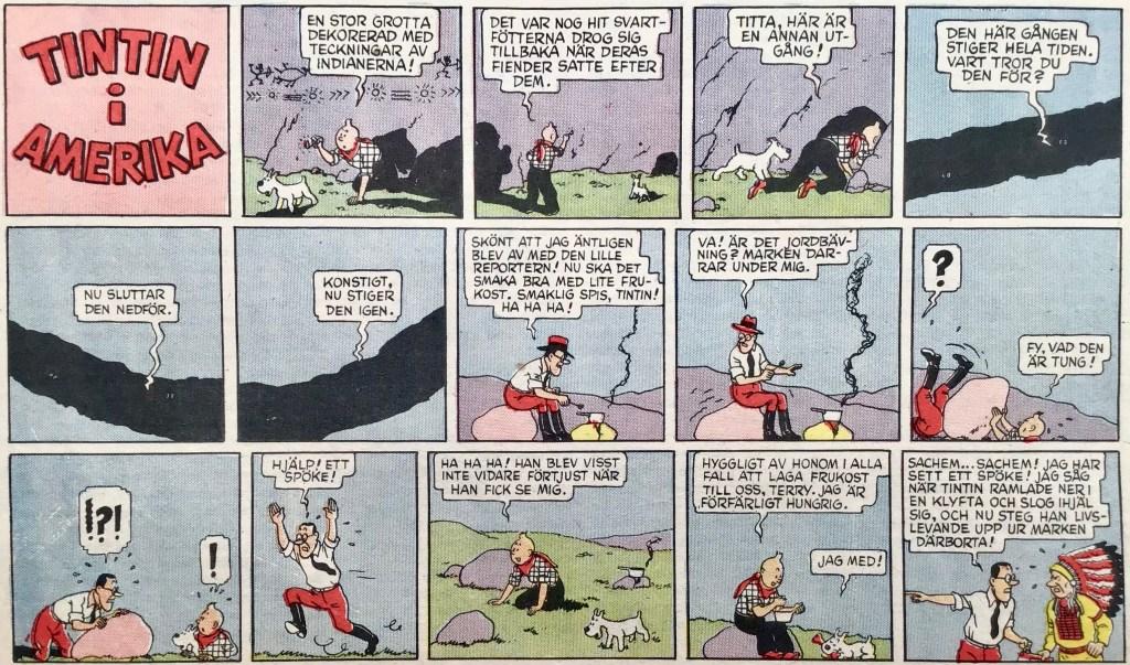 Publiceringen i 25an nr 37, 1949 av Tintin i Amerika. Albumsidorna var redigerade till liggande format. Notera att Milou här heter Terry.  ©PIB
