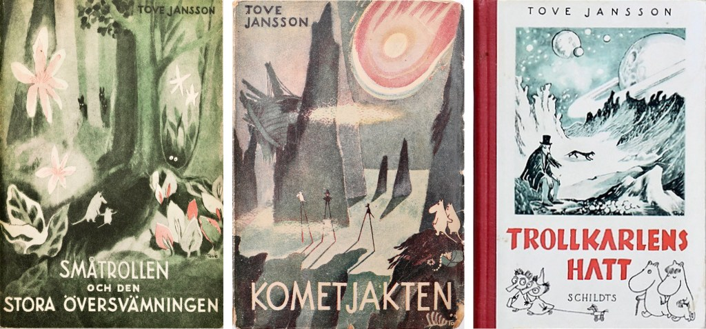 Omslag till de tre första romanerna. ©Moomin Characters