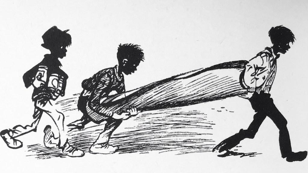 Åke-Kråka böjde sig bakåt och tog tag i en rulle brun korkmatta, stor som en ångbåtsskorsten, som de hade släpat med sig uppför trapporna.