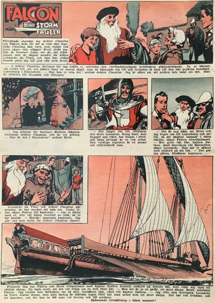 En sida med Falcon Stormfågeln ur Allas nr 37, 1953. ©PIB