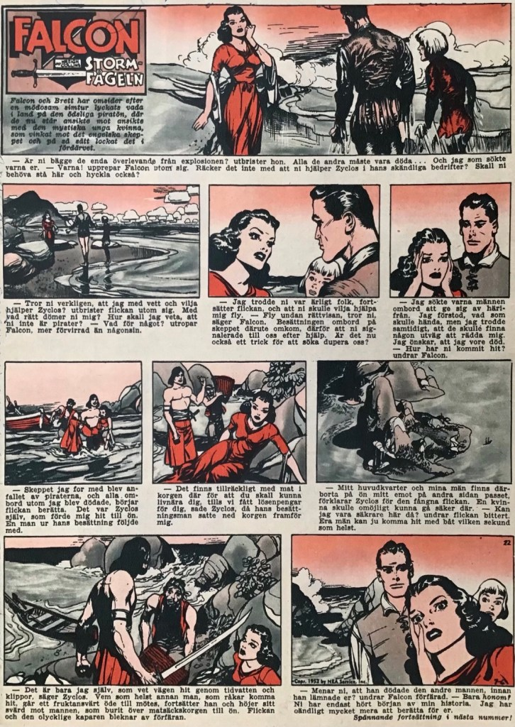 En sida med Falcon Stormfågeln ur Allas nr 22, 1953. ©PIB