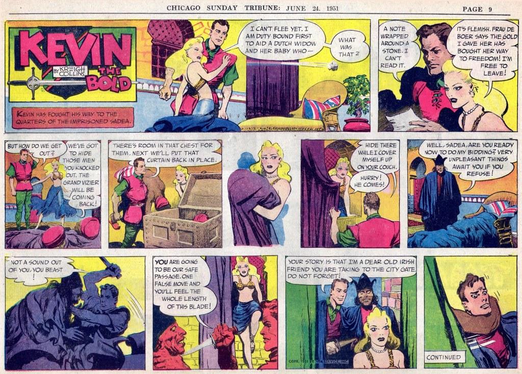 Motsvarande söndagssida (halvsida) med Kevin the Bold, från 24 juni 1951. ©NEA