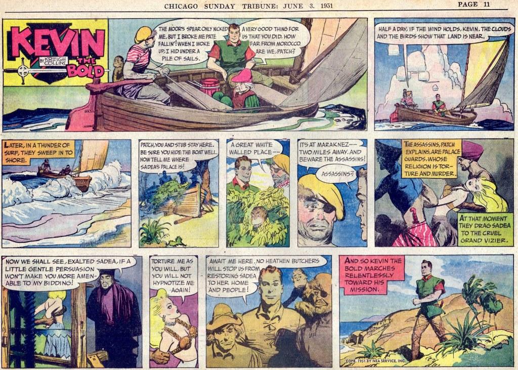 Motsvarande söndagssida (halvsida) med Kevin the Bold, från 3 juni 1951. ©NEA
