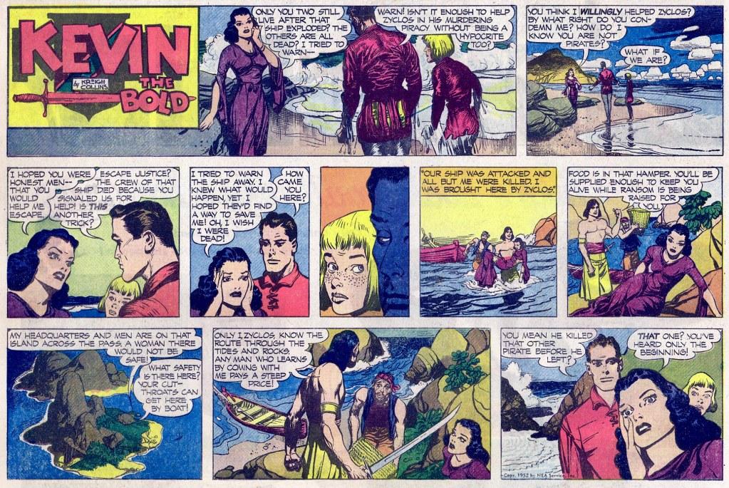 Motsvarande söndagssida (halvsida) med Kevin the Bold, från 6 juli 1952. ©NEA