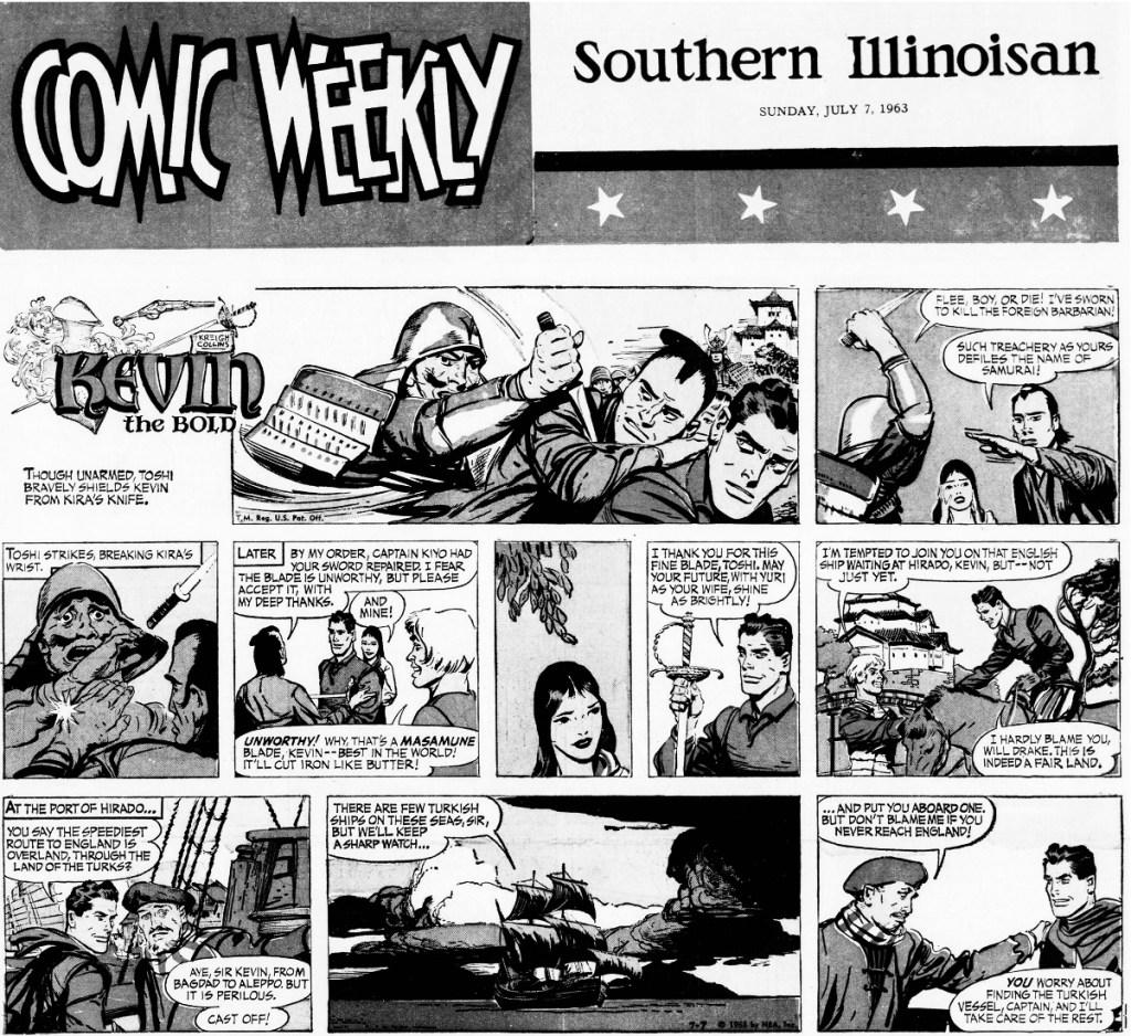 Motsvarande söndagssida (halvsida) med Kevin the Bold, från 7 juli 1963. ©NEA