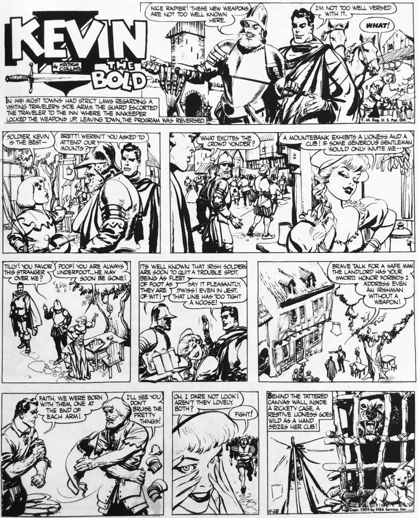 Inledande söndagssida i episoden från 28 november 1954. ©NEA