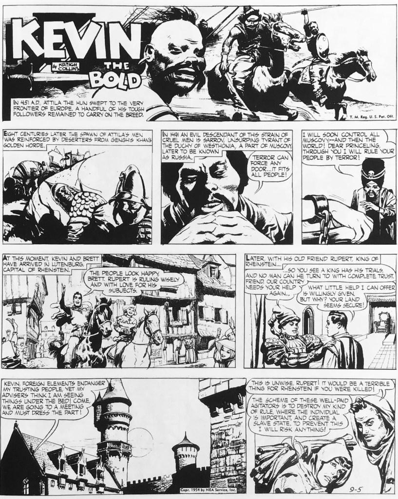 Första söndagssidan i samlingsvolymen med Kevin the Bold från 5 september 1954. ©NEA