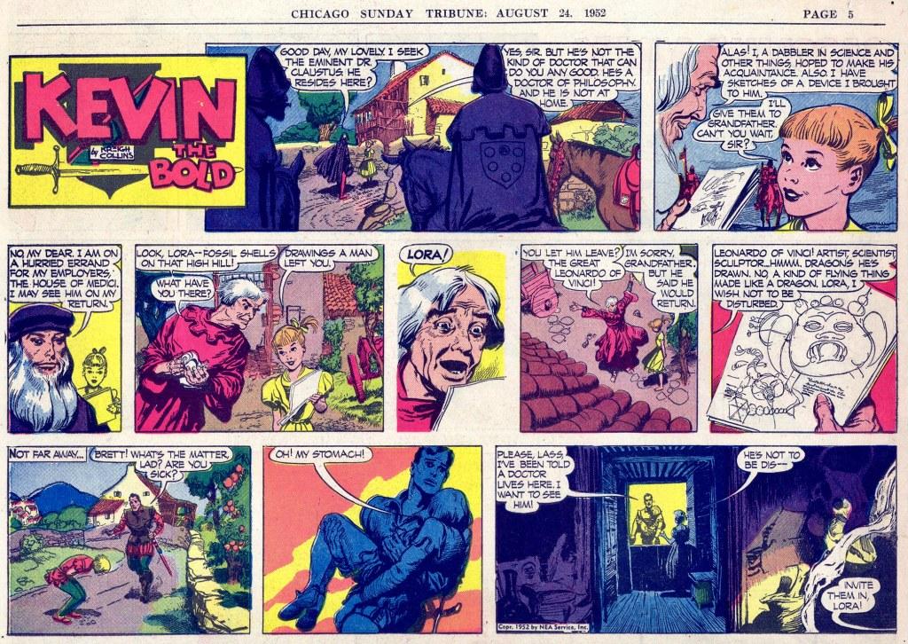 Motsvarande söndagssida (halvsida) med Kevin the Bold, från 24 augusti 1952. ©NEA
