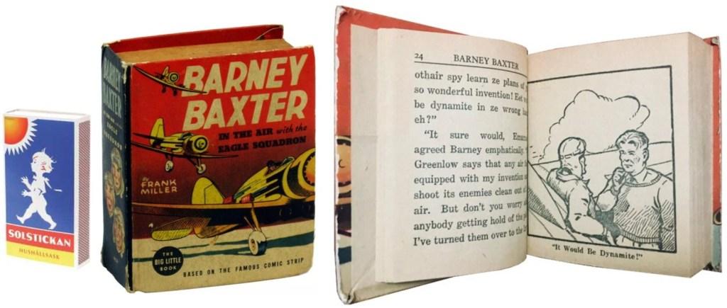 Omslag och ett uppslag ur en Big Little Book med Barney Baxter in the Air with the Eagle Squadron (1938). ©Whitman