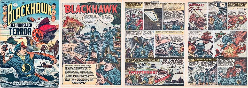 Omslag till Blackhawk #77 (1954) och motsvarande inledning i original från den första Blackhawk-serien. ©Quality/Comic Magazine
